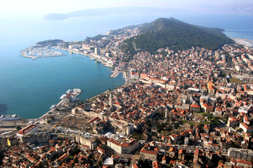 Aerial view, Split with Diocletian palace and Marjan peninsula