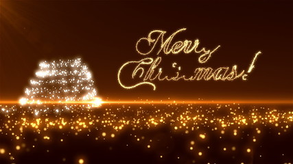 Gold Christmas Tree with Merry Christmas text