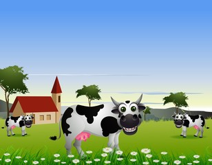 beauty cow cartoon