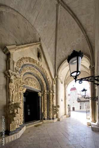 Portal of Cathedral of St. Lawrence in Trogir, Croatia