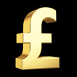 Golden currency symbol isolated on black with clipping path