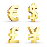 Golden currency symbols isolated on white with clipping path
