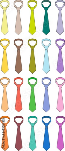 Vector illustration of ties