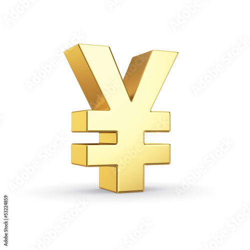 Golden currency symbol isolated on white with clipping path