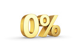 golden 3D zero  percentage icon - isolated with clipping path