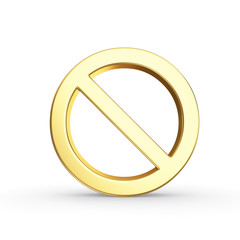 Golden stop symbol isolated with clipping path on white