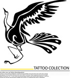 beautiful crane vector illustration - black outline over white