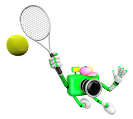 3D Green Camera character is a powerful tennis game play exercis