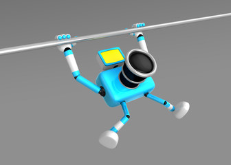 3D Cyan Camera character is doing a vigorous pullup. Create 3D C
