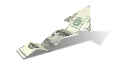 Dollar Bank Note Upward Trend Arrow