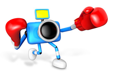 3D Yellow Camera character is doing a vigorously punching boxer.