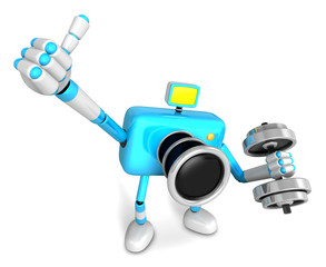 3D cyan Camera character a one Dumbbell curl Exercise. Create 3D