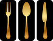 Vector gold cutlery icon on black background