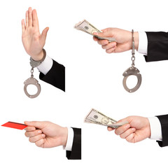 isolated businessman hands one gives money another in handcuffs