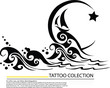 Silhouette of moon and boat graphic design