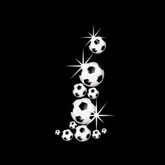 soccer balls letter, 3D alphabet - fussball i