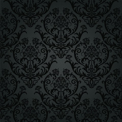 Luxury black charcoal floral wallpaper pattern