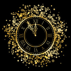 Vector shiny New Year Clock