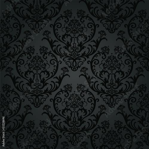 Luksusowy czarny kwiatowy wzór tapety z węglem drzewnym