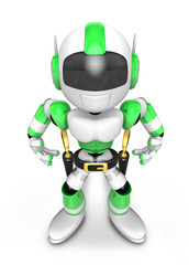 3D Green Robot cowboy is taking pose a gunfight. Create 3D Human