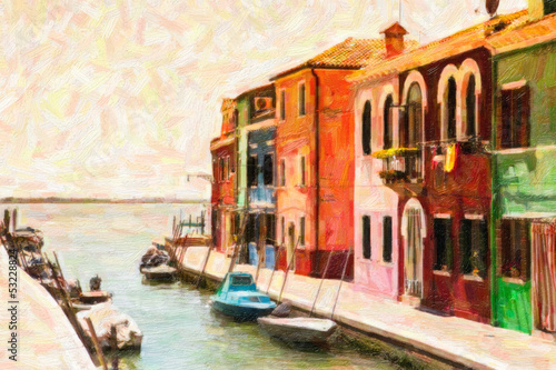 Burano - Venezia - dipinto ad olio
