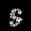 soccer balls letter, 3D alphabet - fussball s
