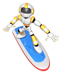 3D Yellow robot is riding a surf board to the Right. Create 3D H