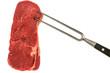 frisches saftiges Steak an einer Fleischgabel