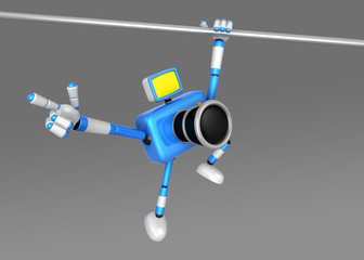 3D Blue Camera character a Powerful Chin up Exercise. Create 3D