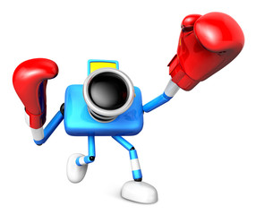 3D Blue Camera character is doing a vigorously boxer Exercise. C