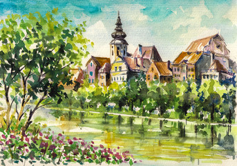 Spring in small city on the river.Watercolors.