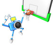 3D Blue camera basketball player Vigorously jumping. Create 3D C