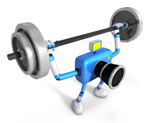 3D Blue Camera character is doing powerful Weightlifting Exercis