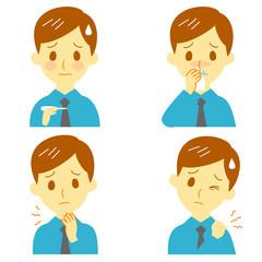 病気の兆候02 発熱、鼻水、喉の痛み、肩こり 男性