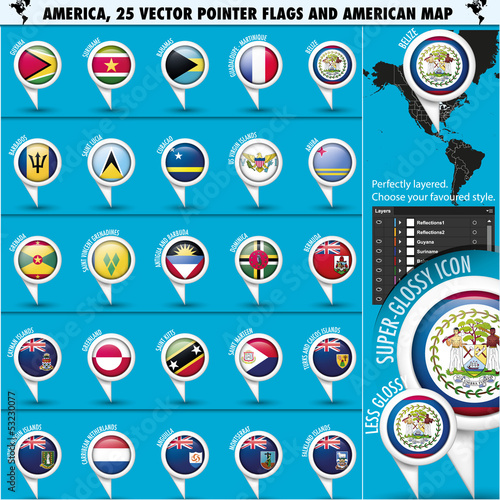 America Pointer Flag Icons with american Map set2