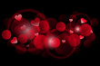 Vector red background with hearts