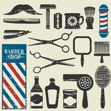 Vintage barber shop tools silhouette icons set