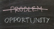 problems crossed out and opportunity on blackboard