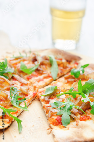 Pizza fresh handmade thin crust and beer