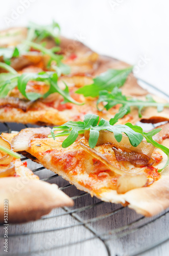 Thin crust pizza slice or flat bread