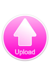 Upload button pink circle (vector)
