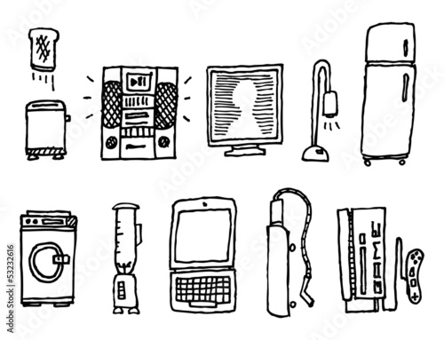 Vector hand-drawn home appliances