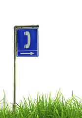 Traffic sign on green grass.