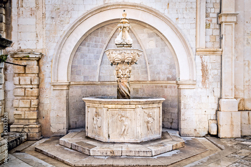 Renaissance fountain inside old town Dubrovnik
