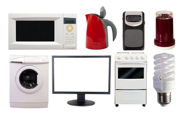 Front view set of  household appliances