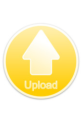 Upload button yellow circle (vector)
