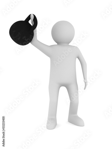man with kettlebell. Isolated 3D image