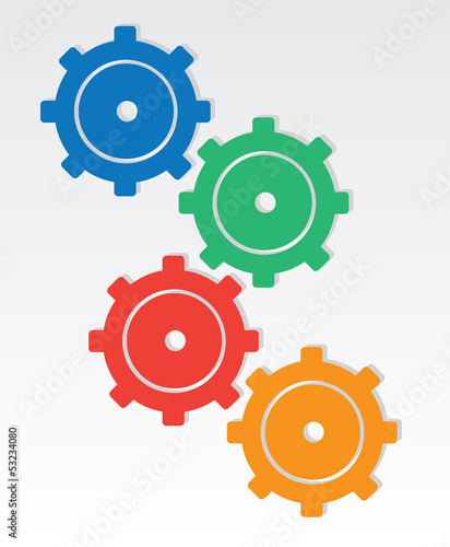 Colored gears interlocking one another