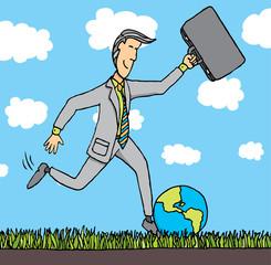 Businessman kicks the planet