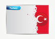 Stitched Turkey flag with grunge paper frame for your text.